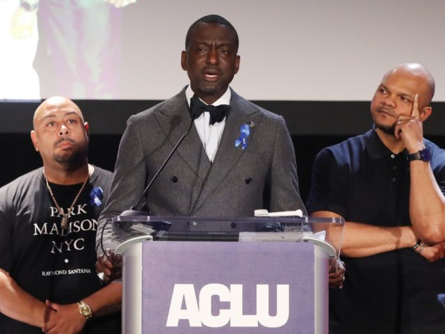LOS ANGELES, CALIFORNIA - JUNE 07: Honorees (L to R) Antron McCray, Raymond Santana, Yusef Salaam, Kevin Richardson and Korey Wise appear on stage at the American Civil Liberties Union (ACLU) of Southern California's 25th annual awards luncheon on June 7, 2019 in Los Angeles, California. The five were wrongfully …