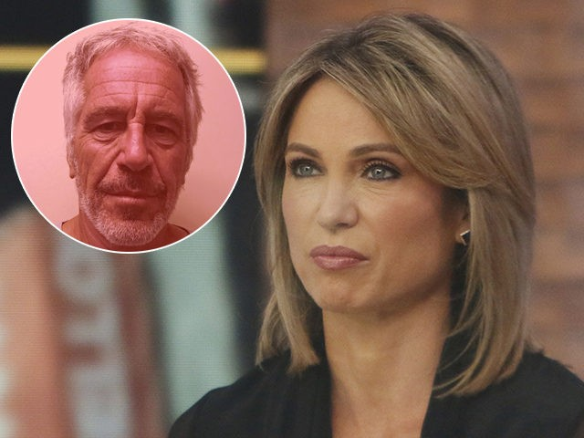 (INSET: Jeffrey Epstein) NEW YORK, July 15: Amy Robach on the set of Good Morning America in New York City on July 15, 2019. Credit: RW/MediaPunch /IPX