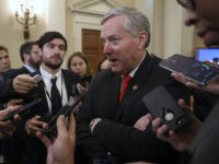 Rep. Mark Meadows, R- N.C., speaks to reporters as the hearing with top U.S. diplomat in Ukraine William Taylor, and career Foreign Service officer George Kent, at the House Intelligence Committee ends on Capitol Hill in Washington, Wednesday, Nov. 13, 2019. (AP Photo/Andrew Harnik)