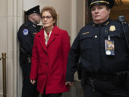 Former U.S. Ambassador to Ukraine Marie Yovanovitch arrives to testify to the House Intelligence Committee, Friday, Nov. 15, 2019, on Capitol Hill in Washington, in the second public impeachment hearing of President Donald Trump's efforts to tie U.S. aid for Ukraine to investigations of his political opponents. (AP Photo/Manuel Balce …