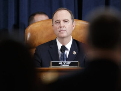 House Intelligence Committee Chairman Adam Schiff, D-Calif., listening to opening remarks by Jennifer Williams, an aide to Vice President Mike Pence, and National Security Council aide Lt. Col. Alexander Vindman, before the House Intelligence Committee on Capitol Hill in Washington, Tuesday, Nov. 19, 2019, during a public impeachment hearing of …