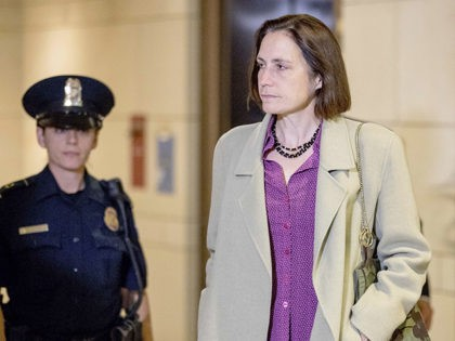 FILE - In this Nov. 4, 2019, file photo former White House adviser on Russia, Fiona Hill arrives for a closed door meeting as part of the House impeachment inquiry into President Donald Trump on Capitol Hill in Washington. (AP Photo/Andrew Harnik, File)