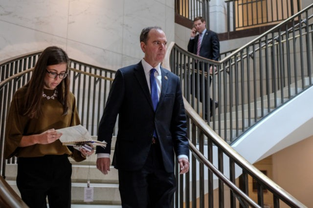 WASHINGTON, DC - OCTOBER 22: House Intelligence Committee Chairman Rep. Adam Schiff (D-CA) returns to a closed session before the House Intelligence, Foreign Affairs and Oversight committees October 22, 2019 in Washington, DC. Bill Taylor, the top U.S. diplomat to Ukraine, is expected to testify to house committees in the …