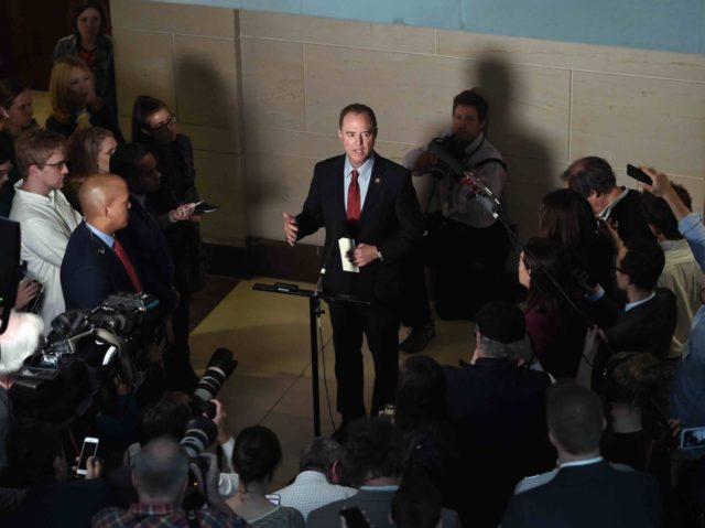 Adam Schiff and media (Olivier Douliery / AFP / Getty)