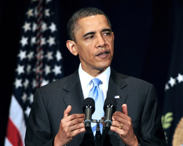 WASHINGTON - MAY 4: (AFP OUT) U.S. President Barack Obama delivers remarks to the Business Council at the Park Hyatt Hotel May 4, 2010 in Washington, DC. In his remarks the President spoke about the attempted failed car bombing that took place over the weekend in New York Citys Times …