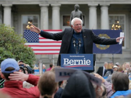 Democratic presidential candidate Sen. Bernie Sanders, I-Vt., gestures during a rally after filing to be listed on the New Hampshire primary ballot at the Statehouse in Concord, N.H., Thursday, Oct. 31, 2019. (AP Photo/Charles Krupa)
