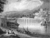 Bideford, Devon, circa 1790. Engraved by James Bingley after a drawing by G. B. Campion.