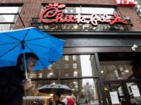 NEW YORK, NY - OCTOBER 2: The exterior of Chick-Fil-A, a day before its opening, on 37th Street and 6th Avenue, on October 2, 2015 in New York City.. The fast food chicken restaurant is set to open its first store in Manhattan. (Photo by Andrew Renneisen/Getty Images)