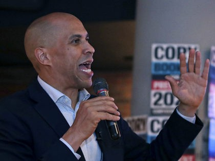 Democratic presidential candidate Sen. Cory Booker, D-N.J., addresses a gathering during a campaign stop in Boston, Monday, Oct. 21, 2019. (AP Photo/Charles Krupa)