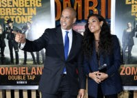 "WESTWOOD, CALIFORNIA - OCTOBER 10: US Senator Cory Booker and Rosario Dawson attend the Premiere Of Sony Pictures' ""Zombieland Double Tap"" at Regency Village Theatre on October 10, 2019 in Westwood, California. (Photo by Frazer Harrison/Getty Images)"