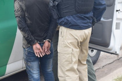 Agents assigned to the Del Rio Sector arrest a migrant after he illegally crossed the border from Mexico. (