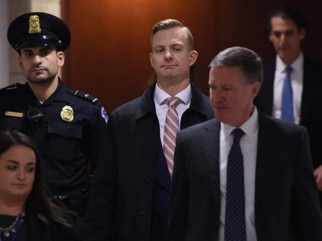 "David Holmes, a State Department official, arrives to appear in a closed-door deposition hearing as part of the impeachment inquiry at the US Capitol in Washington, DC, on November 15, 2019. - Holmes allegedly overheard President Trump ask about the status of ""investigations"" soon after his July phone call with …"