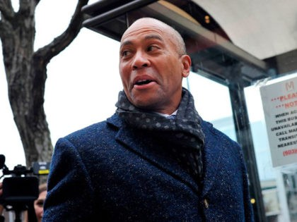 Former Massachusetts Governor Deval Patrick, US Democratic Presidential hopeful, makes his way to the Bridge Cafe to order lunch, greet locals and talk to reporters on November 14, 2019 in Manchester, New Hampshire. (Photo by Joseph Prezioso / AFP) (Photo by JOSEPH PREZIOSO/AFP via Getty Images)