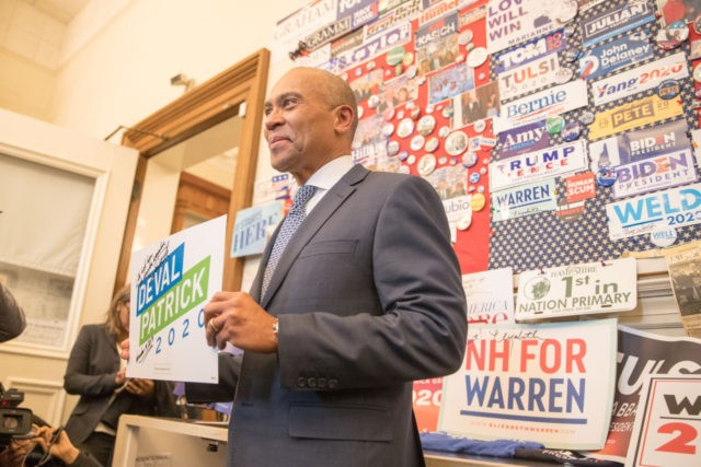 CONCORD, NH - NOVEMBER 14: Former Massachusetts Governor Deval Patrick stands in the visitor center of the New Hampshire State House after he filed his paperwork to run for president in 2020 at the New Hampshire State House on November 14, 2019 in Concord, New Hampshire. Patrick announced his late …