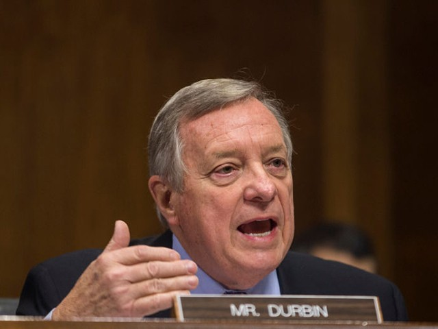 WASHINGTON, DC - DECEMBER 11: Sen. Dick Durbin (D-IL) questions Commissioner of Customs and Border Protection Kevin McAllenan during a Senate Judiciary Committee hearing on December 11, 2018 in Washington, DC. McAleenan answered questions about the Trump administration's immigration policies. (Photo by Zach Gibson/Getty Images)