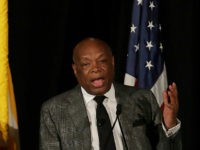 Former state Assembly Speaker Willie Brown speaks before California gubernatorial candidates John Cox and Gavin Newsom spoke at the Willie L. Brown Breakfast Club in San Francisco, Tuesday, Oct. 30, 2018. (AP Photo/Jeff Chiu)