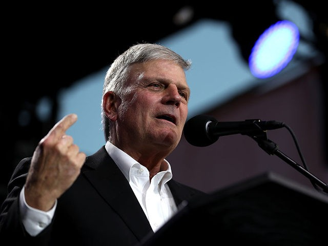 """TURLOCK, CA - MAY 29: Rev. Franklin Graham speaks during Franklin Graham's """"Decision America"""" California tour at the Stanislaus County Fairgrounds on May 29, 2018 in Turlock, California. Rev. Franklin Graham is touring California for the weeks leading up to the California primary election on June 5th with a message …"""