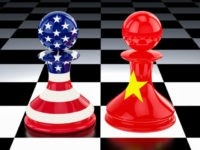 China-United States confrontation and opposition concept. 3D rendering isolated on white background