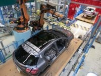 A robot mounts a windshield on a Mercedes Benz A Class on the assembly line at the Daimler AG factory in Rastatt, southwestern Germany, on February 4, 2019. - Daimler posts 2018 financial results on an annual press conference in Frankfurt Germany, on February 6, 2019. (Photo by THOMAS KIENZLE …