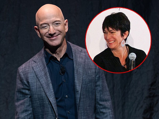 (INSET: Ghislaine Maxwell) Jeff Bezos announces Blue Moon, a lunar landing vehicle for the Moon, during a Blue Origin event in Washington, DC, May 9, 2019. (Photo by SAUL LOEB / AFP) (Photo credit should read SAUL LOEB/AFP via Getty Images)