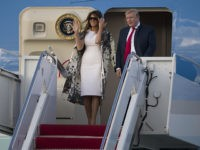 WEST PALM BEACH, FLORIDA - APRIL 18: US President Donald Trump and First Lady Melania Trump step from Air Force One at the Palm Beach International Airport to spend Easter weekend at his Mar-a-Lago resort on April 18, 2019 in West Palm Beach, Florida. President Trump arrived as the report …