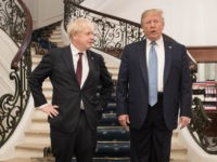BIARRITZ, FRANCE - AUGUST 25: U.S. President Donald Trump and Britain's Prime Minister Boris Johnson arrive for a bilateral meeting during the G7 summit on August 25, 2019 in Biarritz, France. The French southwestern seaside resort of Biarritz is hosting the 45th G7 summit from August 24 to 26. High …