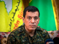 Mazloum Abdi (Kobani), commander-in-chief of the Syrian Democratic Forces (SDF), gives a press conference near the northeastern Syrian Hassakeh province on October 24, 2019. (Photo by - / AFP) (Photo by -/AFP via Getty Images)