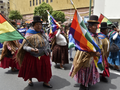 Aymara and Quechua indigenous march in support of Bolivian President Evo Morales and to demand that election results which gave him as the winner are respected by the opposition, in La Paz, on October 29, 2019. - Bolivia's government on Tuesday invited defeated presidential candidate Carlos Mesa to take part …