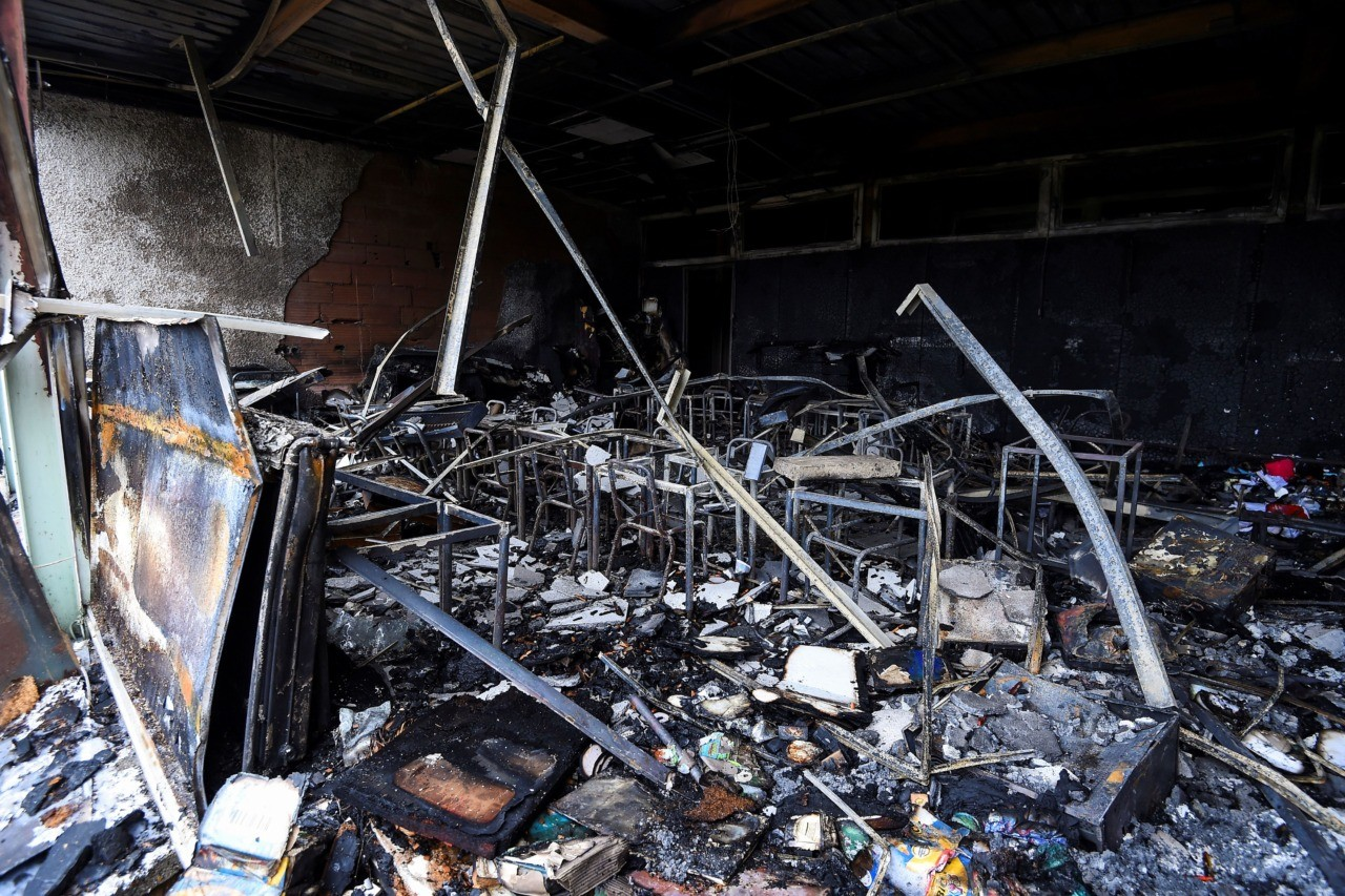 A picture taken on November 1, 2019 shows the damages at the Tamaris elementary school in Beziers, southern France, after a fire of criminal origin destroyed several classrooms overnight. (Photo by SYLVAIN THOMAS / AFP) (Photo by SYLVAIN THOMAS/AFP via Getty Images)