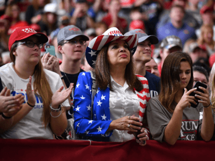 Supporters of the US president attend a rally at the Monroe Civic Center in Monroe, Louisiana on November 6, 2019. (Photo by MANDEL NGAN / AFP) (Photo by MANDEL NGAN/AFP via Getty Images)