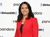 "NEW YORK, NY - NOVEMBER 07: Rep. Tulsi Gabbard talks with SiriusXM's ""Breitbart News Daily"" at SiriusXM Studios on November 7, 2019 in New York City. (Photo by Cindy Ord/Getty Images for SiriusXM)"