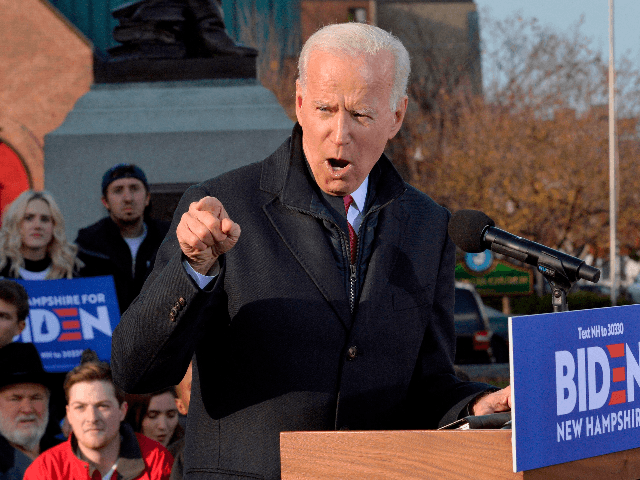 Former US Vice President and democratic candidate holds a rally outside the New Hampshire State House after filing paperwork for the New Hampshire democratic primary in Concord, New Hampshire November 8, 2019. (Photo by Joseph Prezioso / AFP) (Photo by JOSEPH PREZIOSO/AFP via Getty Images)