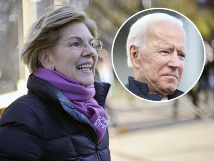 (INSET: Joe Biden) Democratic presidential hopeful Massachusetts' Senator Elizabeth Warren leaves the stage at a rally outside the New Hampshire State House, after signing papers to officially enter the New Hampshire Primary race in Concord, New Hampshire on November 13, 2019. (Photo by Joseph Prezioso / AFP) (Photo by JOSEPH …