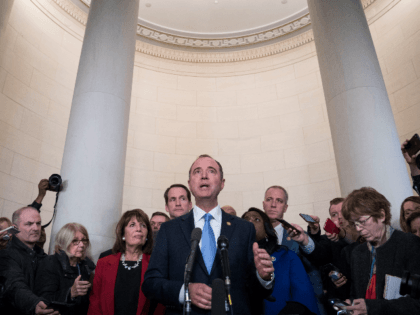 Representative Adam Schiff, a Democrat from California and chairman of the House Intelligence Committee, answers questions from members of the media after a House Intelligence Committee impeachment inquiry hearing in Washington, D.C., U.S., on Wednesday, Nov. 13, 2019. In the first public impeachment hearings in more than two decades, House …