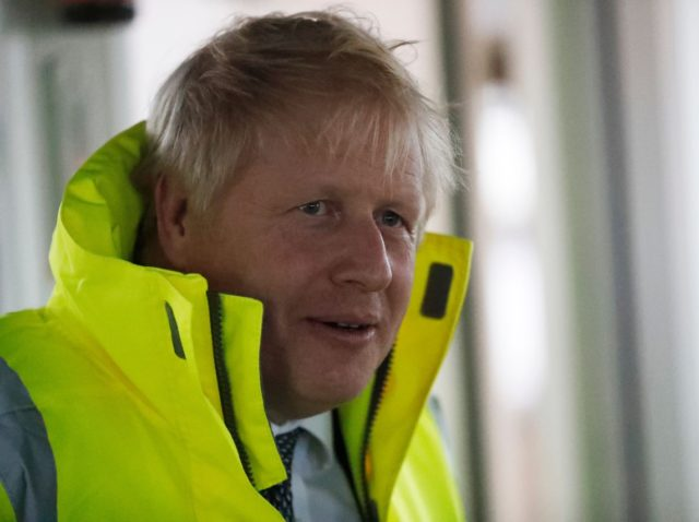 Britain's Prime Minister Boris Johnson takes a tour of Bristol port in a tug boat during a General Election campaign stop in southwest England on November 14, 2019. (Photo by Frank Augstein / POOL / AFP) (Photo by FRANK AUGSTEIN/POOL/AFP via Getty Images)