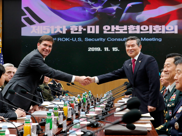 US Defense Secretary Mark Esper (L) shakes hands with South Korean Defence Minister Jeong Kyeong-doo (R) for the media prior to the 51st Security Consultative Meeting (SCM) at the Defence Ministry in Seoul on November 15, 2019. (Photo by Lee Jin-man / POOL / AFP) (Photo by LEE JIN-MAN/POOL/AFP via …