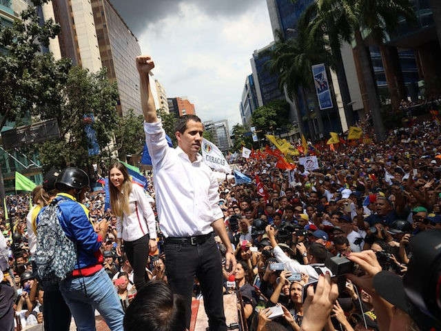 "CARACAS, VENEZUELA - NOVEMBER 16: leader Juan GuaidÛ, recognized by many members of the international community as the country's rightful interim ruler, speaks during rally so-called ""Wake up Venezuela"" at Francisco de Miranda avenue to boost pressure on President Nicolas Maduro to resign on November 16, 2019 in Caracas, Venezuela. …"