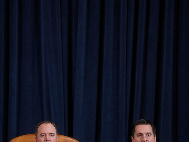 House Intelligence Committee Chairman Rep. Adam Schiff (D-CA) and ranking member Rep. Devin Nunes (R-CA) listen to US Ambassador to the European Union Gordon Sondland as he testifies during the House Intelligence Committee hearing as part of the impeachment inquiry into US President Donald Trump on Capitol Hill in Washington,DC …