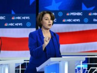 Democratic presidential hopefuls Representative for Hawaii Tulsi Gabbard (L), Minnesota Senator Amy Klobuchar (C) and Mayor of South Bend, Indiana, Pete Buttigieg (R) participate in the fifth Democratic primary debate of the 2020 presidential campaign season co-hosted by MSNBC and The Washington Post at Tyler Perry Studios in Atlanta, Georgia …