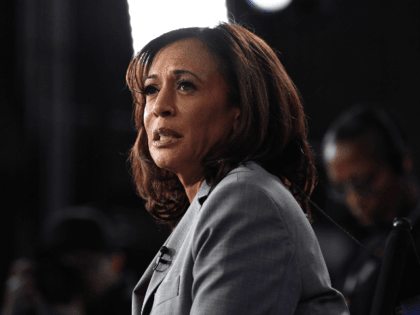 Democratic presidential hopeful California Senator Kamala Harris speaks to the press in the Spin Room after participating in the fifth Democratic primary debate of the 2020 presidential campaign season co-hosted by MSNBC and The Washington Post at Tyler Perry Studios in Atlanta, Georgia on November 20, 2019. (Photo by Nicholas …