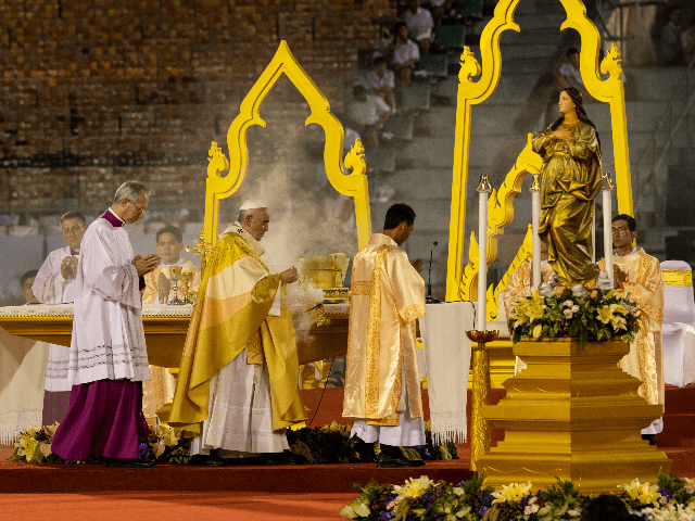 Pope Francis is seen during mass at The National Stadium of Thailand on November 21, 2019 in Bangkok, Thailand. Pope Francis arrived in Bangkok yesterday to begin a three day tour in Thailand followed by Japan. This is the first visit by the head of the Roman Catholic church since …