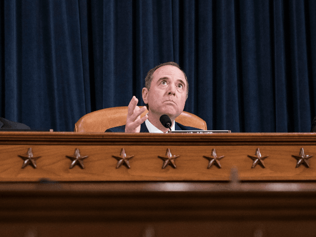 House Intelligence Committee Chairman Rep. Adam Schiff (D-CA) delivers closing remarks at the end of an impeachment inquiry hearing in the Longworth House Office Building on Capitol Hill November 21, 2019 in Washington, DC. The committee heard testimony during the fifth day of open hearings in the impeachment inquiry against …