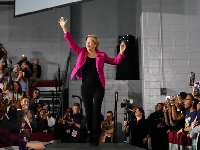 ATLANTA, GA - NOVEMBER 21: Democratic presidential candidate Sen. Elizabeth Warren (D-MA), arrives on stage at a campaign event at Clark Atlanta University on November 21, 2019 in Atlanta, Georgia. Warren, introduced by U.S. Rep. Ayanna Pressley (D-MA), spoke about workers' rights, fighting voter suppression and the accomplishments of Black …