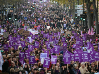 TOPSHOT - People take part in a protest to condemn violence against women, on November 23, 2019, in Paris. (Photo by DOMINIQUE FAGET / AFP) (Photo by DOMINIQUE FAGET/AFP via Getty Images)