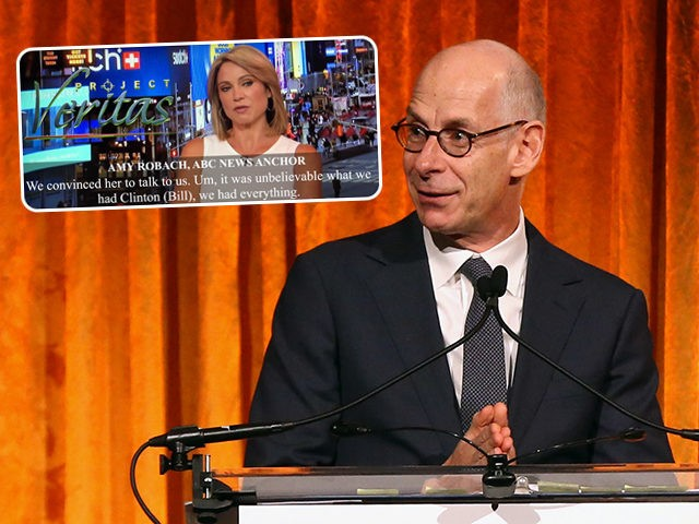 (INSET: Screenshot of Amy Robach's hot mic video, published by Project Veritas) NEW YORK, NEW YORK - OCTOBER 30: James Goldston speaks on stage during The International Women's Media Foundation's 2019 Courage In Journalism Awards at Cipriani 42nd Street on October 30, 2019 in New York City. (Photo by Bennett …