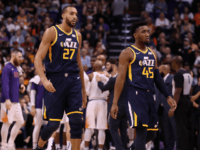 Rudy Gobert #27 and Donovan Mitchell #45 of the Utah Jazz during the first half of the NBA game against the Phoenix Suns at Talking Stick Resort Arena on October 28, 2019 in Phoenix, Arizona. NOTE TO USER: User expressly acknowledges and agrees that, by downloading and/or using this photograph, …