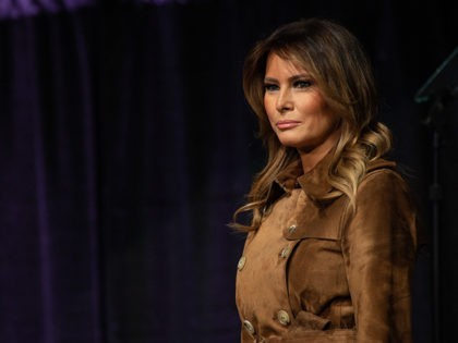 US First Lady Melania Trump arrives to address the B'More Youth Summit in Baltimore, Maryland, on November 26, 2019. - The purpose of the summit is to promote healthy choices and educate students about the dangers of opioid use. (Photo by NICHOLAS KAMM / AFP) (Photo by NICHOLAS KAMM/AFP via …