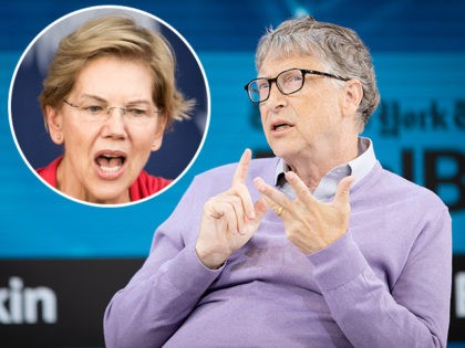 (INSET: Elizabeth Warren) NEW YORK, NEW YORK - NOVEMBER 06: Bill Gates, Co-Chair, Bill & Melinda Gates Foundation speaks onstage at 2019 New York Times Dealbook on November 06, 2019 in New York City. (Photo by Michael Cohen/Getty Images for The New York Times)