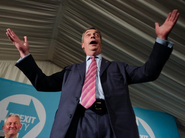 SEDGEFIELD, ENGLAND - NOVEMBER 11: Brexit Party leader Nigel Farage speaks during the Brexit Party general election campaign tour at Sedgefield Racecourse on November 11, 2019 in Sedgefield, England. Nigel Farage has announced that his party will not stand in 317 seats won by the Conservative Party in 2017. Britain …