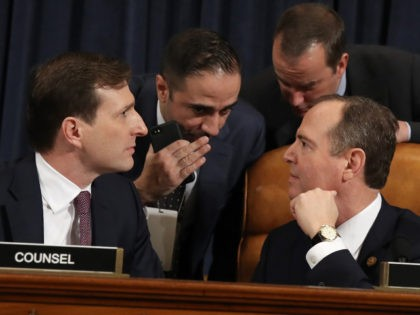 WASHINGTON, DC - NOVEMBER 13: Majority counsel for the House Intelligence Committee Daniel Goldman (lower left) and House Intelligence Committee Chairman Rep. Adam Schiff (lower right) (D-CA) confer as top U.S. diplomat to Ukraine, William B. Taylor Jr., and Deputy Assistant Secretary for European and Eurasian Affairs George P. Kent …